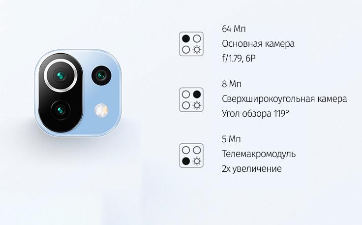Xiaomi Mi 11 Lite 6/64 GB Голубой в минске
