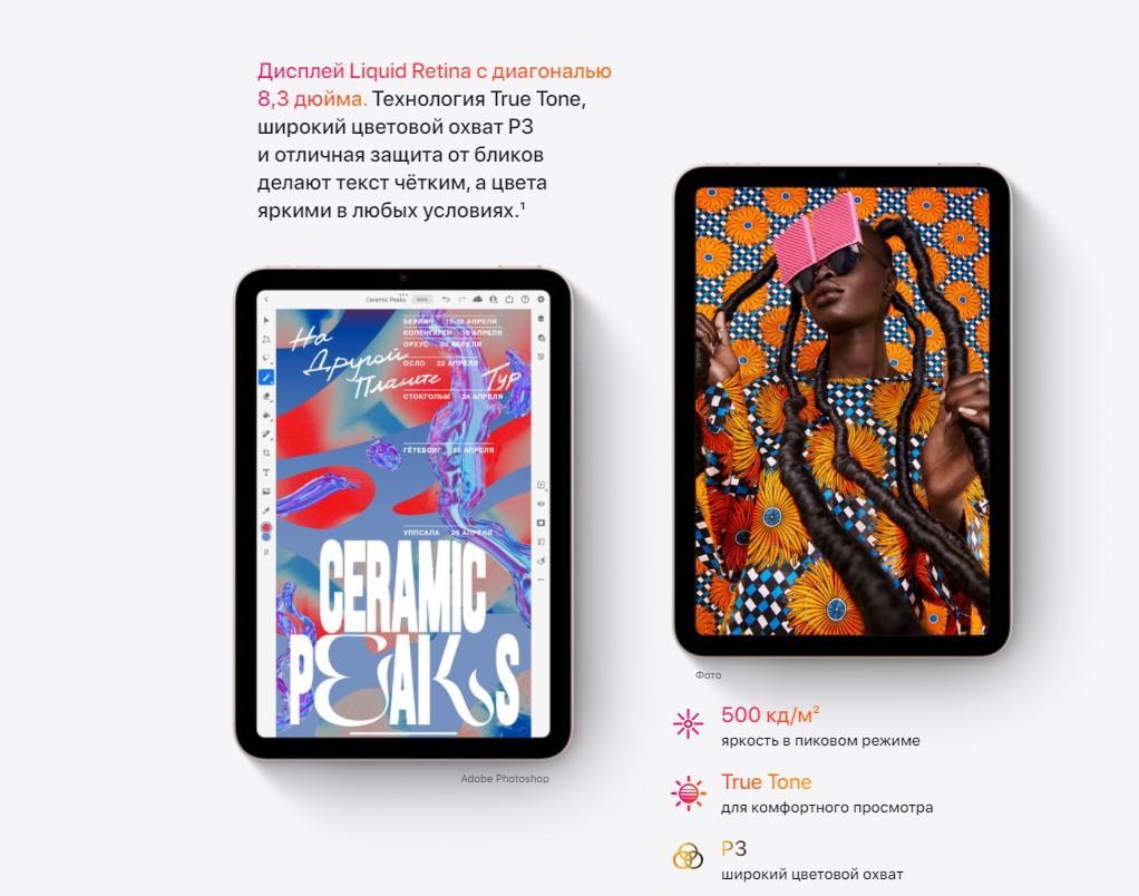 планшет Apple iPad mini 2021 256 GB Wi-Fi Pink MLWR3