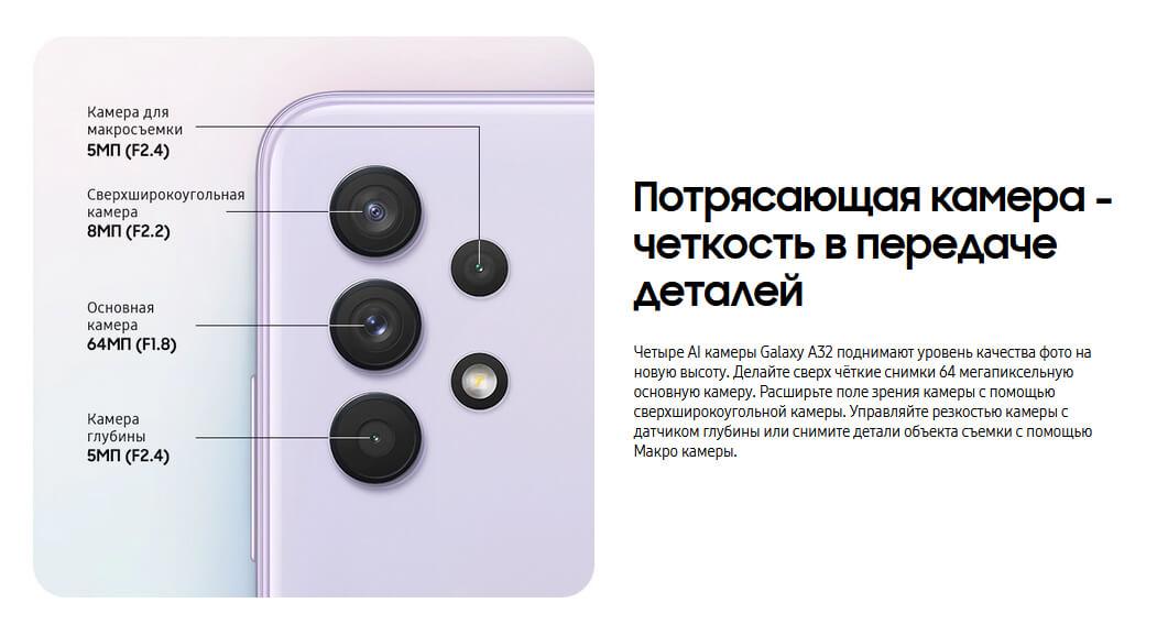 телефон Samsung Galaxy A32 4/64 GB Фиолетовый